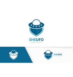 ufo and shield logo combination spaceship vector image
