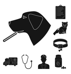 veterinary clinic black icons in set collection vector image