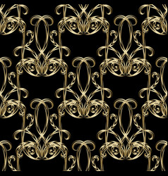 vintage gold damask seamless pattern ornamental vector image