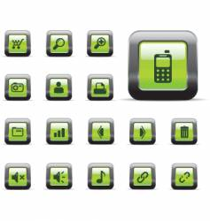 web icons glossy green vector image