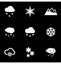 White snow icon set vector
