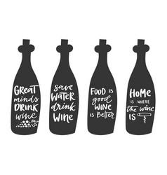 wine bottles doodle set hand vector image