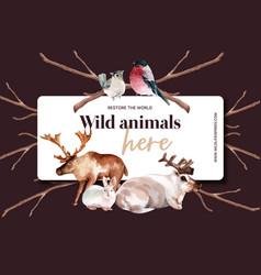 Winter animal frame design with bird rabbit deer vector