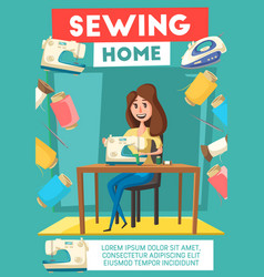 woman sewing with machine banner for needlework vector image