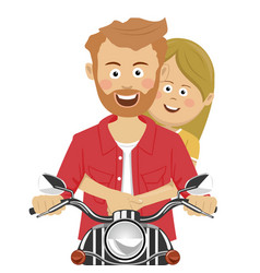 Young couple riding motorcycle smiling vector