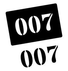 Zero zero seven black rubber stamp on white vector