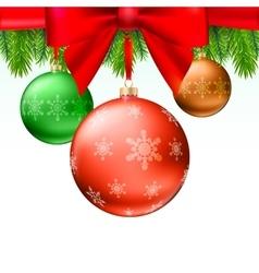 Christmas balls green fir branches bow white vector image