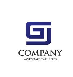 creative letter gj design logo vector image