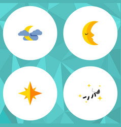 Flat icon midnight set of night asterisk moon vector