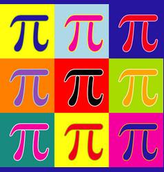 pi greek letter sign pop-art style vector image