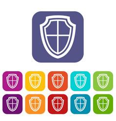 shield icons set vector image vector image
