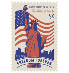 statue of liberty in background of nyc and flag vector image vector image