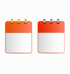 blank sheet of calendar icon with silver and gold vector image vector image