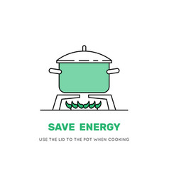 cooking pot on stove vector image vector image
