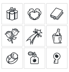 Gifts for women on holiday icons set vector image vector image