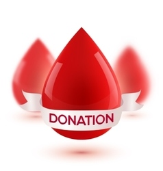 Red realistic blood drops with white ribbon and vector image