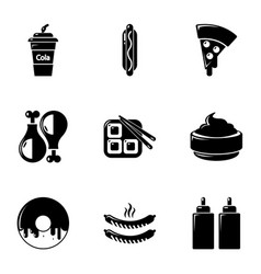 unhealthy food icons set simple style vector image vector image