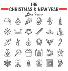 christmas line icon set new year signs vector image