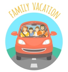 Family vacation trip by car vector image