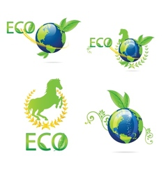 green eco earth sign set vector image vector image