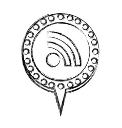 monochrome sketch with wifi icon and circular vector image vector image