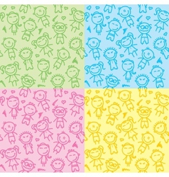 seamless patterns with kids vector image