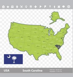 south carolina flag and map vector image