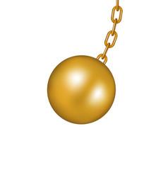 Wrecking ball in golden design vector