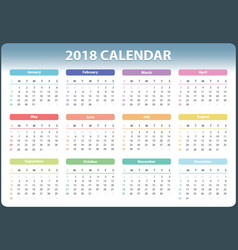 calendar for 2018 starts sunday calendar vector image
