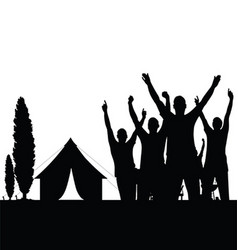 Camping in nature with people black silhouette vector