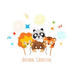 funny childish animal masks for animal carnival vector image vector image