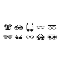 glasses icon set simple style vector image