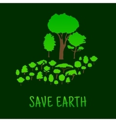 Human hand with green forest trees vector image vector image