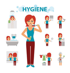 hygiene infographic elements woman is busy vector image vector image