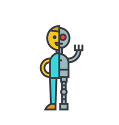 man android robot flat line concept vector image
