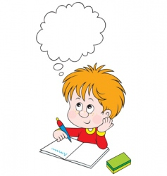 schoolboy at lesson vector image vector image