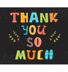 Thank you so much postcard cute greeting card vector