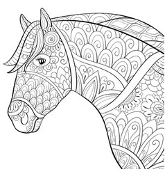 Adult coloring bookpage a cute horse image for vector