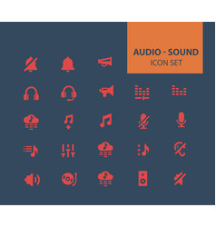 audio and sound icon set vector image