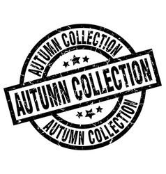 Autumn collection round grunge black stamp vector