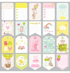 Baby boy tags banners scrapbook labels vector