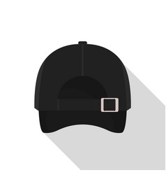 Back of black baseball cap icon flat style vector
