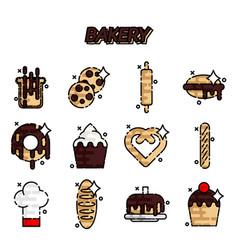 bakery flat icons set vector image
