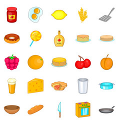 Bakery icons set cartoon style vector