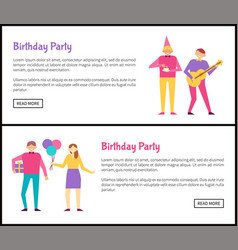 birthday party posters isolated on white backdrop vector image