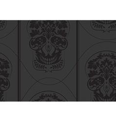 Black leafs skull damask pattern vector image