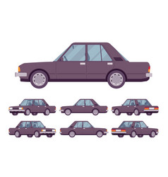 black sedan set vector image