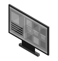 black smart tv icon isometric style vector image