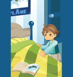 Boy making his bed vector