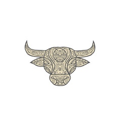 Bull Cow Head Front Mandala vector